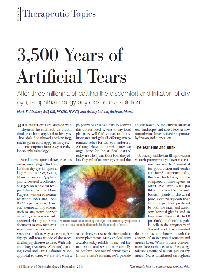 3,500 Years of Artificial Tears