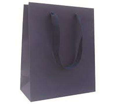 "Picture of Matte Laminate Shopping Bags-Navy 8""X4""X10"" 50/Box"